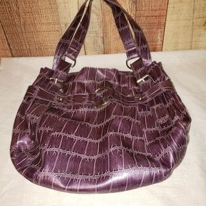 Purple vinyl tote purse